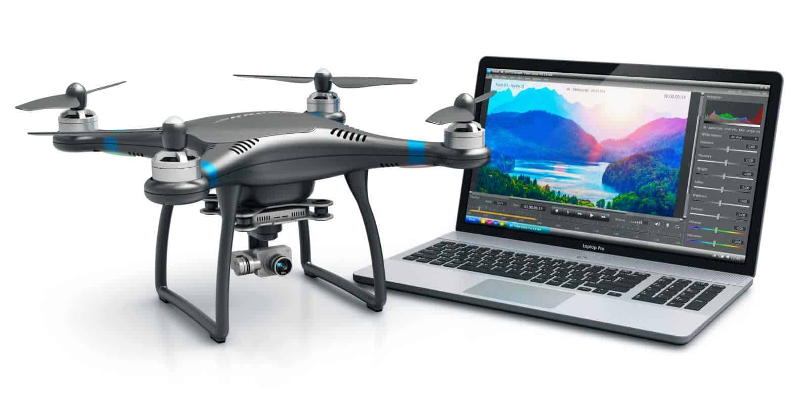 Drone Apps and Software image showing a small black drone and laptop
