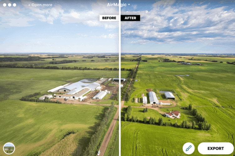 Screenshot of the AirMagic drone photo editing software in action, showing before and after slider