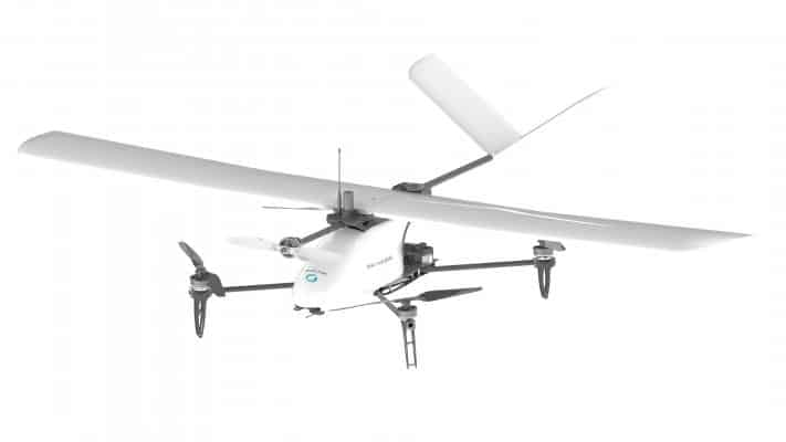 Image of DroneVolt VTOL drone, wing attached