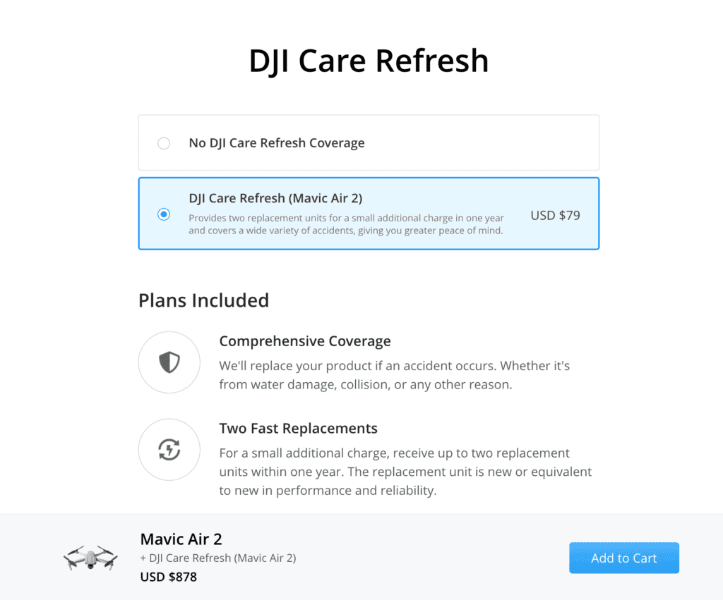 DJI Refresh Upsell on their site