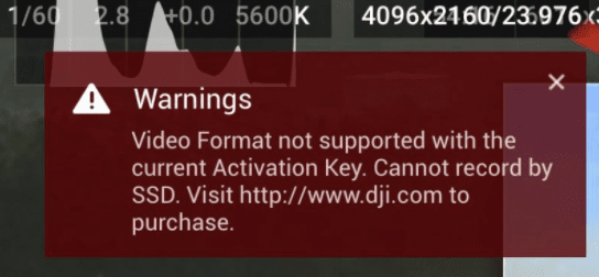 Inspire 2 SSD error showing video format not supported